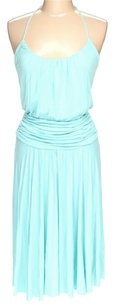 Aqua Maxi Dress by BCBGMAXAZRIA Halter Ruched Pleated
