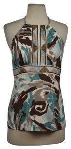 BCBGMAXAZRIA Womens Printed Halter Causal Sleeveless Shirt Blue Halter Top