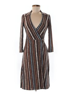 BCBGMAXAZRIA Print Jersey Wrap Striped Dress