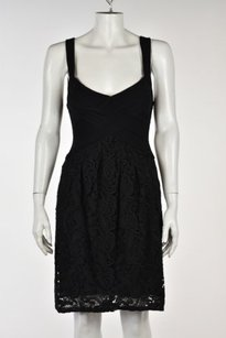 BCBGMAXAZRIA Womens Floral Lace Casual Knee Length Sheath Dress