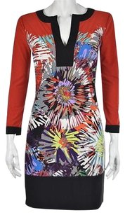 BCBGMAXAZRIA Womens Red Printed Above Knee Casual Sheath Dress