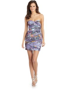 BCBGMAXAZRIA Sweetheart Ruched Floral Dress
