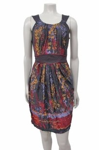 BCBGMAXAZRIA short dress Multi-Color Print Pleated Round Neck Halter Black on Tradesy