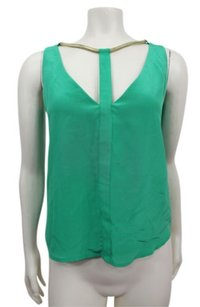 BCBGMAXAZRIA Nydia Rope Trim Silk Top Green Opal
