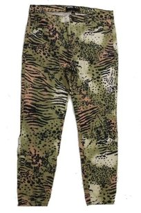 BDG Urban Outfitters Olive Multi Animal Print Cropped High Rise Pant Capri/Cropped Denim
