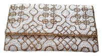 Beaded Clutch Beading White and Gold Clutch