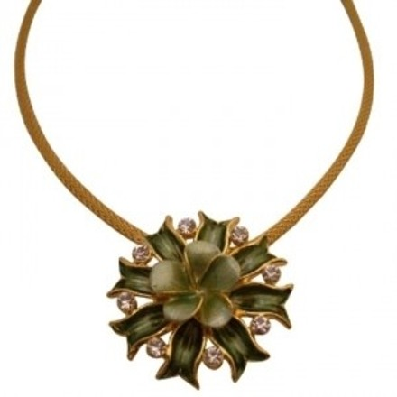 Beautiful But Affordable Green Flower Pendant W/ Crystals