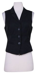 bebe Bebe Womens Black Vest Cotton Sleeveless Blazer Career