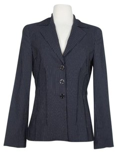 bebe Bebe Womens Black Silver Striped Blazer Jacket Nylon Blend Long Sleeve