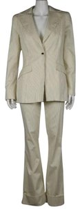 bebe Bebe Womens Ivory Striped Pant Suit 106 Cotton Blazer Trousers Career