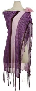 bebe Bebe Womens Pink Purple Striped Scarf Os Rayon Poncho