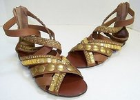 bebe Brown Leather Studded Browns Sandals
