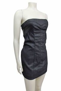 bebe Sparkle Knit Wool Strapless Tube Leather Panel Dress