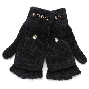 bebe STUD GLOVE COZY MITTENS BABY FUR CONVERTIBLE BLACK SZ SMALL S