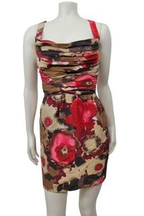 bebe Watercolor Abstract Pleat Dress