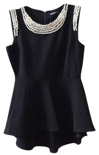 Beloved Peplum Pearl Crystal Jewel Collar Top Black with jeweled neckline and sleeves