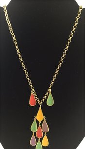 Ben-Amun Ben Amun Multi Color Resin Beaded Gold Tone Chain Dangle Statement Necklace 16