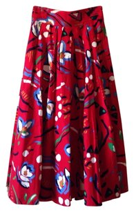 Bentley Arbuckle Vintage A-line Maxi Pattern Bohemian Skirt Red