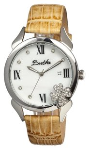 Bertha Clover Silver-tone Steel White Mother of Pearl Dial Ladies Watch BR2201