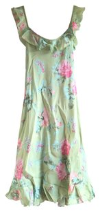Green pink Maxi Dress by Betsey Johnson Boho Floral Vintage