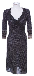 Betsey Johnson Lace Metallic V-neck 3/4 Sleeve Stretchy Dress