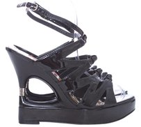 Betsey Johnson Patent Leather Acrylic Black Sandals