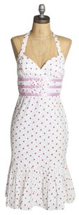 Betsey Johnson short dress White/Pink Floral Print Pink White Halter on Tradesy