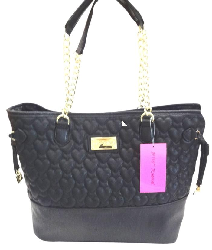 Betsey Johnson Quilted Heart Large Black Tote Bag Tradesy