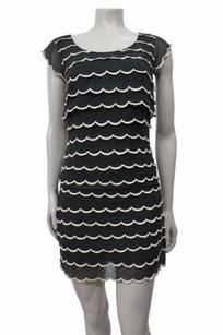 Betsey Johnson Silk Tiered Layered Scalloped Shift Dress