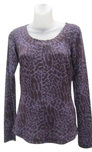 Betsey Johnson Animal Print Scoop Neck Ribbed Retails 372rm Top Purples