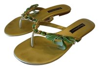 Beverly Feldman Gold with Green Sandals