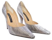 Beverly Feldman Snakeskin Leather Gray Grey Pointed Toe Designer Dorsay Silver Pumps