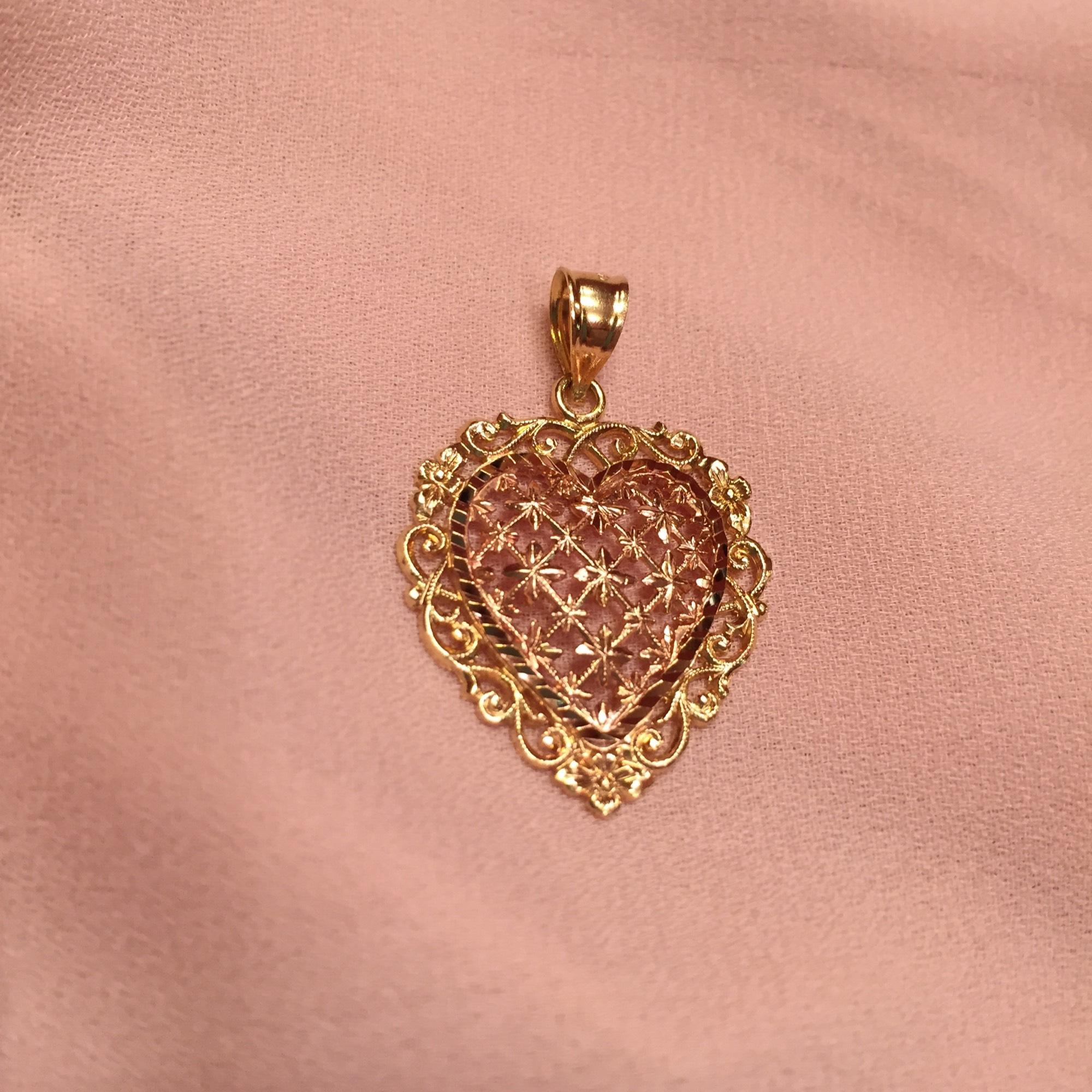 RoseYellow Gold Vintage 14k Filigree Heart Pendant Gently Worn