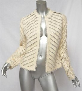 Bill Blass Cream Floral Embroidered Diagonal Ribbonlacy Tulle Ivory Jacket