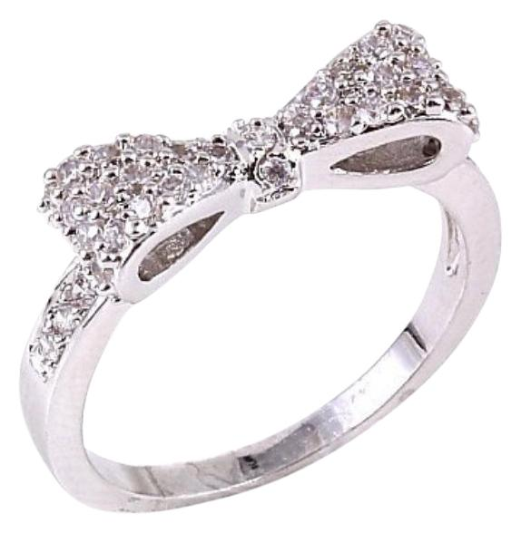 Bloomingdales Silver Rhinestone Pave Cz Diamond Bow Present Bridal