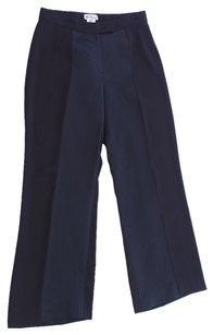 Blumarine Flat Front Creased Wide Trouser Pants Black