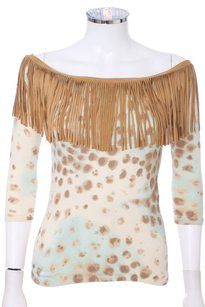 Blumarine Knit Fringe Hem Leather Sweater