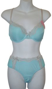 BM INTIMATES PANTIES S & BRA SET 32D NWT CONTOUR PUSH UP EMBROIDERED LACE W THONG