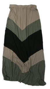 Bobeau Chevron Stripe Panels Maxi Skirt Multi-Color