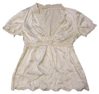 Boston Proper Silk Paisley Embroidered Stretchy Top WHITE IVORY CREAM
