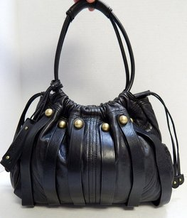 Botkier Leather Scrunch Drawstring Hobo Shoulder Bag