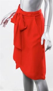 Bottega Veneta Veneta Coral Silk Crepe Belted Above Knee Short Skirt Red