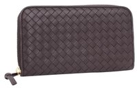 Bottega Veneta Bottega Veneta	Brown Intrecciato Woven Zip Around Clutch Purse Leather Wallet