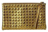 Bottega Veneta Pythonleather Gold Clutch