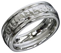 Boucheron Boucheron 18K White Gold Godron Logo Band Ring US SIZE 4.5