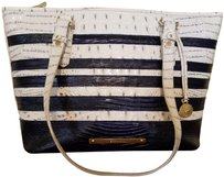 Brahmin Asher Leather Tote in Stonewash in navy and white
