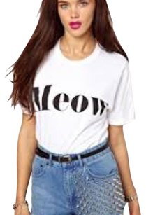 Brashy Couture Meow Cats Cat Lady T Shirt White