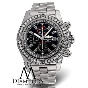 Breitling Breitling Super Avenger A13370 Black Dial Diamond Bezel Watch