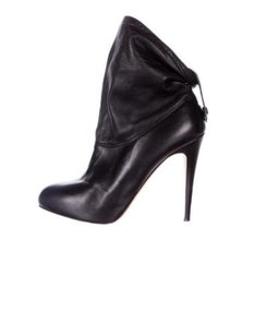 Brian Atwood Womens Leather Slouchy High Heel Pump Ankle Black Boots