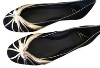 Brian Atwood Castella Black And Gold Flats